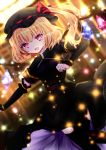 1girl alternate_costume black_dress black_headwear black_legwear blonde_hair blurry blurry_background commentary_request crystal detached_sleeves double-breasted dress eyebrows_visible_through_hair flandre_scarlet flat_chest hair_between_eyes leg_up light_particles looking_at_viewer medium_hair nanase_nao open_mouth outstretched_arm red_eyes short_sleeves side_ponytail solo thigh-highs touhou wings
