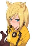 1girl animal_ears ashiomi_masato blonde_hair blue_eyes brown_legwear commentary_request dress eyes_visible_through_hair feet guilty_gear guilty_gear_xrd millia_rage open_mouth pantyhose short_hair solo yellow_dress