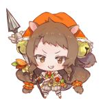 1girl amana_(pocketkey) animal_ears bell blush brown_eyes brown_hair chibi collared_shirt crop_top detached_sleeves full_body grey_shorts grin hair_bell hair_ornament holding holding_spear holding_weapon jingle_bell kneehighs long_hair looking_at_viewer midriff orange_shirt polearm princess_connect! princess_connect!_re:dive puffy_short_sleeves puffy_shorts puffy_sleeves rin_(princess_connect!) shirt short_sleeves shorts sleeveless sleeveless_shirt smile solo spear squirrel_ears squirrel_girl squirrel_tail standing tail v-shaped_eyebrows very_long_hair weapon white_legwear white_sleeves