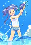 1girl blue_hair braid hair_ornament hairclip idolmaster idolmaster_cinderella_girls in_water midriff miyoshi_sana one_eye_closed open_mouth outdoors oyuzaki_(ayuzaki) pixel_art shirt shorts solo standing sunlight tied_shirt twin_braids two_side_up water_gun wet