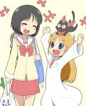 1other 2girls absurdres animal_on_head bag black_cat black_hair blonde_hair blue_eyes cat cat_on_head closed_eyes cowboy_shot groceries highres labcoat long_hair multiple_girls nichijou on_head open_mouth pleated_skirt professor_shinonome red_skirt sailor_collar sakamoto_(nichijou) school_bag school_uniform shinonome_nano short_hair simple_background skirt smile standing tokisadame_school_uniform white_background white_sailor_collar winding_key zakkin_(zakkinman)