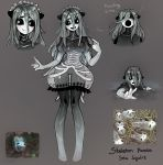 1girl animal_ears artist_name black_sclera breasts bright_pupils brown_background bubble_skirt character_sheet commentary d: english_commentary english_text full_body gradient_skin grey_background grey_hair hair_between_eyes highres large_breasts long_hair looking_away looking_to_the_side matilda_fiship medium_breasts monster_girl multicolored multicolored_skin multiple_views no_feet open_mouth original partially_submerged personification photo-referenced pointing pointing_at_self reaching_out reference_photo reference_photo_inset ribs see-through short_eyebrows simple_background skirt smile thick_eyebrows transparent water webbed_hands wet white_pupils