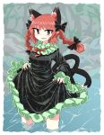 1girl animal_ears bangs bare_legs black_bow black_dress bow braid breasts cat_ears cat_tail chups dress extra_ears eyebrows_visible_through_hair fang frilled_dress frilled_sleeves frills green_frills highres holding_dress in_water kaenbyou_rin long_sleeves looking_at_viewer medium_hair multiple_tails open_mouth outdoors pointy_ears red_bow red_eyes red_nails red_neckwear redhead short_hair solo standing tail touhou twin_braids two_tails water wet