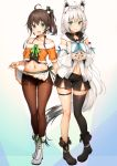 2girls :d ahoge animal_ear_fluff animal_ears aqua_eyes bare_shoulders belly_peek black_footwear black_legwear black_shirt black_shorts blue_eyes boots bow braid breasts brown_hair brown_legwear collarbone crop_top detached_sleeves fox_ears fox_girl fox_tail front_slit full_body hair_bow halter_top halterneck highres hololive hood hood_down jacket long_hair long_sleeves looking_at_viewer medium_breasts midriff miniskirt multiple_girls natsuiro_matsuri navel off-shoulder_jacket off_shoulder open_mouth orange_jacket pantyhose pleated_skirt shirakami_fubuki shirt short_shorts shorts side_ponytail silver_hair single_thighhigh skirt skirt_lift smile spaghetti_strap standing stomach sy4 tail thigh-highs thigh_strap thighs undershirt very_long_hair virtual_youtuber white_footwear white_shirt white_skirt
