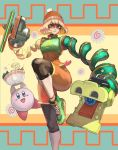 1girl arms_(game) beanie black_legwear blonde_hair bowl domino_mask dragon_(arms) green_eyes hat highres kirby kirby_(series) leg_up leggings looking_at_viewer mask min_min_(arms) orange_headwear orange_legwear orange_shorts ramram_(arms) seiya_(artist) shoes short_hair shorts sneakers socks standing standing_on_one_leg super_smash_bros. zipper_pull_tab