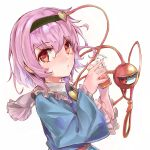 1girl :/ absurdres arms_up blue_shirt commentary_request cup drinking_glass drinking_straw eyebrows_visible_through_hair frilled_shirt_collar frilled_sleeves frills from_side hair_between_eyes hair_ornament hairband heart heart_hair_ornament highres holding holding_cup ikazuchi_akira komeiji_satori long_sleeves looking_at_viewer partial_commentary pink_hair red_eyes shirt short_hair simple_background solo standing third_eye touhou upper_body white_background wide_sleeves