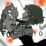 1girl 2019 black_dress bone breasts character_name chinese_lantern_(plant) closed_mouth dress fingernails floating flower from_side gradient gradient_background green_hair grey_background gumi half-closed_eyes hands_up jitome light_smile looking_back medium_breasts otome_dissection_(vocaloid) pale_skin profile raputsue ribs short_hair short_hair_with_long_locks sideboob sidelocks simple_background solo spine very_short_hair vocaloid white_background