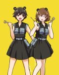 2girls alternate_costume artist_name bangs belt brown_eyes brown_hair closed_eyes collared_dress commentary dress eyebrows_visible_through_hair freckles girls_und_panzer grey_belt holding_screwdriver holding_wrench katakori_sugita looking_at_viewer medium_dress multiple_girls nakajima_(girls_und_panzer) open_mouth short_hair signature simple_background sleeveless sleeveless_dress smile standing tsuchiya_(girls_und_panzer) yellow_background