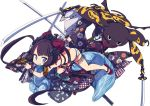1girl animal_print ass bangle bangs bikini blue_eyes blunt_bangs blush bracelet brown_hair butt_crack cat_print checkered commentary_request dual_wielding facing_away fate/grand_order fate_(series) fighting_stance floral_print flower grin hair_bun hair_flower hair_ornament highres holding holding_sword holding_weapon jewelry katana katsushika_hokusai_(fate/grand_order) katsushika_hokusai_(swimsuit_saber)_(fate) leg_strap looking_away looking_to_the_side okobo red_footwear scrunchie shiraha_(orega-gandamud) simple_background smile swimsuit sword thigh_strap thighlet thighs tokitarou_(fate/grand_order) twintails two-tone_bikini v-shaped_eyebrows weapon white_background white_bikini wrist_scrunchie