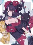 1girl animal bangs bare_shoulders black_hair black_kimono blue_eyes blush breasts calligraphy_brush checkered closed_mouth collarbone commentary_request eyebrows_visible_through_hair fate/grand_order fate_(series) floral_print grey_background hair_ornament highres holding holding_paintbrush japanese_clothes katsushika_hokusai_(fate/grand_order) kimono looking_at_viewer medium_breasts obi octopus off_shoulder oversized_object paintbrush sash solo tokitarou_(fate/grand_order) totatokeke two-tone_background white_background