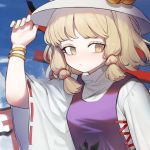 1girl blonde_hair bracelet commentary_request hand_up hat heoningu highres jewelry korean_commentary medium_hair moriya_suwako nail_polish purple_vest shirt solo touhou turtleneck upper_body vest white_shirt wide_sleeves yellow_eyes