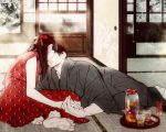 1boy 1girl barefoot black_hair blurry bow cup dress grey_kimono hanaze hetero holding_hands imminent_kiss indoors japanese_clothes kimono original pitcher red_bow red_dress sliding_doors tatami tray unmoving_pattern window