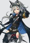 1girl arknights armpits arms_behind_head arms_up ascot bangs black_ascot black_neckwear black_pants black_shirt chaps claymore_(sword) elite_ii_(arknights) grani_(arknights) grey_background hair_between_eyes highres holding holding_sword holding_weapon long_hair looking_at_viewer low-tied_long_hair pants red_eyes shirt sigm@ silver_hair simple_background sleeveless sleeveless_shirt solo sword thigh_cutout weapon