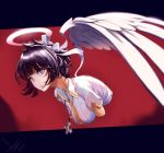 1girl absurdres angel azazel_(helltaker) bangs black_hair blue_eyes blush breasts commentary_request cross dated disembodied_torso feathered_wings gloves hair_ribbon halo helltaker highres jewelry large_breasts looking_at_viewer necklace ribbon shirt short_hair short_sleeves signature smile teupeu upper_body white_ribbon white_shirt wings