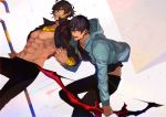 2boys abs ahoge arash_(fate) bangs black_hair black_shirt bow_(weapon) brown_hair couple dark_skin dark_skinned_male earrings fate/grand_order fate/prototype fate/prototype:_fragments_of_blue_and_silver fate_(series) fingers_together gold_necklace holding_hand holding_hands interlocked_fingers jacket jewelry looking_at_viewer male_focus multiple_boys nipples open_clothes open_jacket open_mouth ozymandias_(fate) pants pectorals pvc_parfait revealing_clothes shirt simple_background smile staff weapon yaoi yellow_eyes