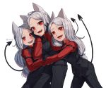 3girls ahoge animal_ears arm_garter bangs black_gloves black_pants blush breasts cerberus_(helltaker) commentary demon_girl demon_tail dog_ears dog_girl fang fangs gloves haksiga helltaker hug long_hair long_sleeves looking_at_viewer low-tied_long_hair medium_breasts multiple_girls necktie open_mouth pants parted_bangs red_eyes red_shirt shirt simple_background smile tail teeth tongue tongue_out triplets upper_teeth vest waistcoat white_background white_hair