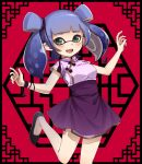 1girl bangs black_border black_footwear blue_hair blue_skirt blunt_bangs border bracelet chinese_clothes commentary domino_mask double_bun flats green_eyes high-waist_skirt inkling jewelry leg_up looking_at_viewer mask medium_hair miniskirt open_mouth pointy_ears purple_shirt shirt short_sleeves skirt smile solo splatoon_(series) standing standing_on_one_leg takeko_spla tangzhuang tentacle_hair twintails