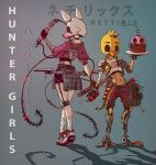 2girls battle_scarred bomb chica chicken_mask cupcake_(fnaf) cyborg dual_wielding five_nights_at_freddy's five_nights_at_freddy's_2 fox_mask holding humanization mangle mask mechanical_legs multiple_girls neytirix scar tattoo time_bomb weapon weapon_on_back whip whip_sword