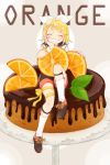 1girl bangs black_collar black_shorts blonde_hair bow cake cake_stand chocolate closed_eyes collar facing_viewer food fork fork_hair_ornament fruit full_body grin hair_bow hair_ornament hairclip hand_on_own_cheek highres kagamine_rin knee_up kneehighs leaf mint orange orange_slice oversized_food raputsue ribbon sailor_collar shirt short_hair shorts sitting smile solo spoon spoon_hair_ornament swept_bangs thigh_ribbon vocaloid white_bow white_shirt wrist_cuffs yellow_ribbon