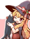1girl animal bangs black_cat blonde_hair blush bow capelet cat cloak eyebrows_visible_through_hair gloves hair_between_eyes hat hat_bow highres holding holding_animal holding_cat kareya little_witch_nobeta long_hair nobeta open_mouth red_eyes smile solo witch_hat