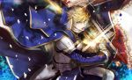 1boy ahoge armor arthur_pendragon_(fate) artist_name bangs blonde_hair blue_flower blue_petals breastplate cape excalibur_(fate/prototype) fate/grand_order fate_(series) faulds fighting_stance flower gauntlets glowing glowing_weapon greaves green_eyes hair_between_eyes holding hood long_sleeves looking_at_viewer male_focus pauldrons petals pvc_parfait shiny shiny_hair shoulder_armor solo sparkle sweat sword twitter_username upper_body weapon white_petals