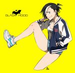1girl black_hood blue_eyes ear_piercing hand_in_pocket highres jacket jewelry kamezaemon leg_up looking_at_viewer multicolored_hair necklace open_clothes open_jacket original piercing shoes short_shorts shorts simple_background sneakers solo yellow_background