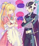 1boy 1girl apron black_hair blonde_hair blue_eyes cape crossed_arms drawr dress eye_contact frown glaring hair_ribbon judas_(tales) lightning_glare lilith_aileron long_hair looking_at_another mask nishihara_isao ponytail ribbon short_hair sidelocks speech_bubble sword tales_of_(series) tales_of_destiny tales_of_destiny_2 talking time_paradox translation_request violet_eyes weapon
