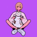 1girl black_nails black_shorts brown_eyes brown_hair cat crossed_legs full_body highres long_sleeves looking_at_viewer original purple_background second-party_source shirt shoes short_hair shorts simple_background sitting solo white_footwear white_shirt yoshi_mi_yoshi