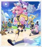2boys 3girls beach blonde_hair bow carrying clenched_teeth clouds cooking day drill_hair gen_1_pokemon glasses gloves hair_bow hat highres jacket janis_(hainegom) kurara_(pokemon) long_sleeves mole mole_under_mouth multiple_boys multiple_girls old_man piggyback pink_hair pokemon pokemon_(game) pokemon_swsh ponytail pot rope running shorts sky slowbro staryu sweat teeth top_hat twin_drills violet_eyes wheel yellow_jacket yuuri_(pokemon)