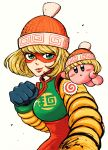 1girl arms_(game) beanie blonde_hair green_eyes hat highres kirby kirby_(series) looking_at_viewer mask min_min_(arms) short_hair smile