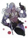 1boy absurdres belt black_gloves blue_eyes closed_mouth gloves grey_hair guilty_gear hair_over_one_eye highres holding holding_weapon long_hair male_focus muscle navel original shirtless simple_background sketch solo sutegoro venom_(guilty_gear) weapon white_background white_hair