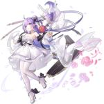 1girl ahoge alternate_costume anklet azur_lane bangs bare_shoulders black_ribbon blush breasts copyright_name detached_sleeves dress eyebrows_visible_through_hair flower hair_bun hair_ribbon high_heels highres jewelry kaede_(003591163) long_hair long_sleeves looking_at_viewer official_art one_side_up open_mouth pantyhose purple_hair ribbon side_bun solo strapless strapless_dress stuffed_alicorn stuffed_animal stuffed_toy transparent_background unicorn_(a_dream_of_pure_vows)_(azur_lane) unicorn_(azur_lane) very_long_hair violet_eyes wedding_dress white_dress white_legwear