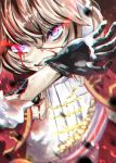 1girl artificial_skin biting bleeding blood blue_eyes bow brocade brown_hair cape chromatic_aberration commentary_request damaged dutch_angle epaulettes exposed_wires girls_frontline glove_biting glove_in_mouth gloves glowing glowing_eyes gold_trim grin hair_bow motion_blur mouth_hold red_cape smile solo sparking_wires sparks tsurime two_side_up u.b_m1s2s webley_revolver_(girls_frontline) white_bow wire