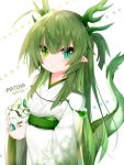 1girl ahoge antlers bangs beads blush cup disposable_cup dragon_girl dragon_tail drink drinking_straw eyebrows_visible_through_hair green_eyes green_hair hair_between_eyes heterochromia highres holding holding_cup japanese_clothes kimono long_hair mofuaki original personification pointy_ears short_eyebrows slit_pupils solo starbucks tail thick_eyebrows very_long_hair white_background
