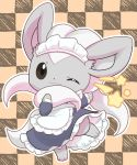 apron black_eyes checkered checkered_background cinccino closed_mouth clothed_pokemon commentary_request dress gen_5_pokemon grey_dress highres looking_at_viewer maid maid_apron maid_dress maid_headdress no_humans one_eye_closed pokemon smile solo standing standing_on_one_leg star_(symbol) wadorigi white_apron white_headdress
