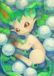 brown_eyes brown_sclera closed_mouth commentary_request gen_4_pokemon highres kikuyoshi_(tracco) leaf leafeon looking_at_viewer looking_up lying no_humans on_side partially_submerged pokemon pokemon_(creature) rain solo water