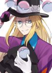 1boy absurdres black_headwear blonde_hair blue_collar blue_eyes collar collared_shirt commentary_request cravat dynamax_band eyelashes floating glasses gloves hand_on_headwear hat highres huge_filesize kamekiti long_hair looking_at_viewer male_focus poke_ball poke_ball_(generic) pokemon pokemon_(game) pokemon_swsh round_eyewear savory_(pokemon) shirt single_glove solo teeth telekinesis top_hat white-framed_eyewear wristband