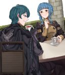 1boy 1girl absurdres black_gloves blue_eyes blue_hair braid brown_eyes byleth_(fire_emblem) byleth_(fire_emblem)_(male) chair closed_mouth commission crown_braid cup ebinku fire_emblem fire_emblem:_three_houses garreg_mach_monastery_uniform gloves highres holding holding_cup long_sleeves marianne_von_edmund parted_lips short_hair sitting smile table teacup uniform