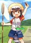 1girl :d alternate_costume arm_up black_hair blue_shorts blue_sky blush brown_eyes bug butterfly_net clouds common_raccoon_(kemono_friends) day fang grass grey_hair hand_net hat highres kemono_friends multicolored_hair open_mouth outdoors raccoon_tail raglan_sleeves road shirt short_hair shorts sky smile solo straw_hat suicchonsuisui sun_hat t-shirt tail