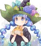 1girl animal black_dress black_headwear blue_bow blue_eyes blue_flower blue_hair blurry blurry_background bow braid commentary_request depth_of_field dress flower frog hair_flower hair_ornament hands_up hat hat_flower holding holding_animal hydrangea kuga_tsukasa long_hair original pink_flower polka_dot puffy_short_sleeves puffy_sleeves purple_flower short_sleeves solo striped twin_braids twintails upper_body very_long_hair witch_hat