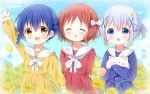 3girls :d ^_^ angora_rabbit animal animal_hug arm_up bangs blue_dress blue_eyes blue_hair blush bow braid brown_eyes brown_hair candy closed_eyes commentary_request day deyui dress eyebrows_visible_through_hair facing_viewer fang field flower flower_field food gochuumon_wa_usagi_desu_ka? hair_between_eyes hair_bow hair_ornament highres index_finger_raised jouga_maya kafuu_chino lollipop long_sleeves looking_at_viewer matching_outfit multiple_girls natsu_megumi open_mouth outdoors petals pleated_dress rabbit red_dress sailor_collar sailor_dress short_twintails signature sleeves_past_wrists smile swirl_lollipop tippy_(gochiusa) twin_braids twintails upper_teeth white_bow white_sailor_collar x_hair_ornament yellow_dress yellow_flower younger