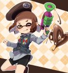 1girl :q ;) argyle argyle_background bangs beige_background beret bike_shorts black_footwear black_shorts blunt_bangs brown_eyes brown_hair brown_headwear candy cardigan_vest chocolate chocolate_heart collared_shirt commentary domino_mask flats food grey_cardigan grey_shirt hat heart holding holding_weapon inkling long_sleeves looking_at_viewer mask one_eye_closed pointy_ears shirt short_hair shorts single_vertical_stripe smile solo splatoon_(series) splatoon_2 splattershot_(splatoon) standing takeko_spla tentacle_hair tongue tongue_out valentine weapon