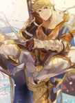 1boy armor bangs blonde_hair blush chest gloves granblue_fantasy green_eyes hand_on_own_cheek highres holding holding_weapon leather looking_at_viewer male_focus muscle pectorals picube525528 polearm simple_background sitting smile solo toned toned_male upper_body vambraces vane_(granblue_fantasy) weapon