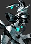 1girl blue_eyes boots clover collar dress earrings elphelt_valentine expressionless fingerless_gloves flower four-leaf_clover gloves glowing glowing_eyes grey_hair guilty_gear guilty_gear_xrd gun hairband handgun hat highres jewelry limited_palette looking_at_viewer looking_back monochrome revolver short_hair silver_hair simple_background solo spikes suzunashi veil weapon white_hair