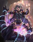 1girl bare_shoulders battle black_hair black_legwear blue_eyes cardfight!!_vanguard chain claws covered_navel fire garter_straps green_hair harusame_tsubaki holding holding_chain jacket monster multicolored multicolored_hair o.m official_art open_clothes open_jacket outdoors padded_jacket pointy_ears purple_fire purple_jacket short_hair standing teeth tongue vanguard_(warship_girls_r) zipper