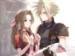 1boy 1girl aerith_gainsborough blonde_hair blue_eyes braid braided_ponytail carrying choker cloud_strife cropped_jacket dress final_fantasy final_fantasy_vii final_fantasy_vii_remake frilled_dress frills green_eyes gumiseijin jewelry looking_at_another necklace princess_carry short_sleeves sleeveless smile