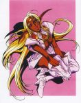 1990s_(style) 1girl blonde_hair boots dark_skin full_body gloves hands_on_own_knee hands_together high_heels highres izubuchi_yutaka lips long_hair looking_at_viewer official_art parted_lips pirotess pointy_ears record_of_lodoss_war red_eyes scan shadow skirt solo thigh-highs thigh_boots v_arms
