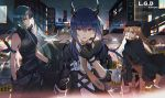 3girls animal_ears arknights armband armor beret black_gloves black_headwear black_jacket black_legwear black_pants black_shirt blonde_hair blood blood_on_face blue_hair breastplate breasts building car caution_tape ch'en_(arknights) city collared_shirt commentary copyright_name cowboy_shot dragon_horns drill_hair facial_scar fingerless_gloves glint gloves green_hair ground_vehicle hair_between_eyes hannya_(arknights) hat holding_shield horns hoshiguma_(arknights) jacket jacket_on_shoulders keep_out lococo:p long_hair looking_at_viewer medium_breasts motor_vehicle multiple_girls necktie oni_horns open_clothes open_jacket open_mouth orange_eyes outdoors pants police police_car rain scar scar_on_cheek shield shirt side_drill sleeveless sleeveless_shirt swire_(arknights) tail thigh-highs thighs tiger_ears tiger_tail turtleneck twin_drills twintails walkie-talkie white_shirt wing_collar yellow_eyes yellow_neckwear