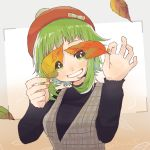 1girl autumn_leaves beret black_shirt falling_leaves green_eyes green_hair grin gumi hat holding holding_leaf leaf looking_at_viewer plaid plaid_vest raputsue shirt short_hair sidelocks smile solo upper_body vest vocaloid