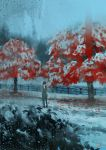 1girl black_hair blood blood_splatter bush fog hands_in_pockets highres original outdoors railing scarf scenery snow snowing solo standing tamaki_(tamaki_illust) tree water white_scarf